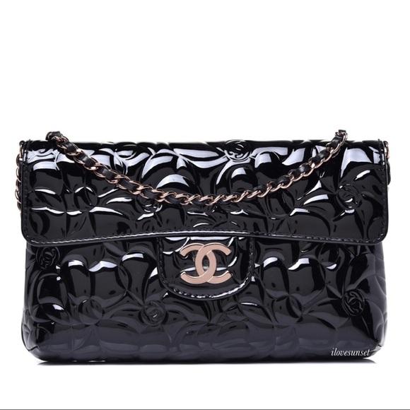 {CHANEL} Patent Camellia Black Crossbody Flap Bag